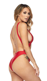 Keyhole Cut Out Open Back Swimsuit - Red