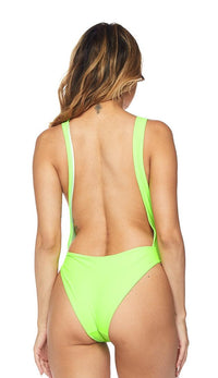 Keyhole Cut Out Open Back Swimsuit - Neon Green
