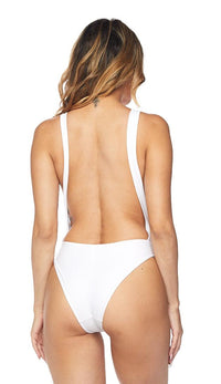 Keyhole Cut Out Open Back Swimsuit - White - SohoGirl.com