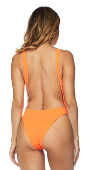 Keyhole Cut Out Open Back Swimsuit - Neon Orange