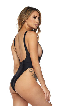 Open Side High Cut One Piece Swimsuit - Black