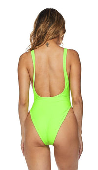 Open Side High Cut One Piece Swimsuit - Neon Green