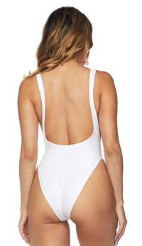 Open Side High Cut One Piece Swimsuit - White - SohoGirl.com