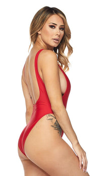 Open Side High Cut One Piece Swimsuit - Red
