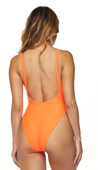 Open Side High Cut One Piece Swimsuit - Neon Orange - SohoGirl.com
