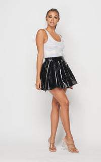 Faux Leather Vinyl Skater Skirt - Black