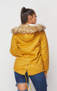 Fur Lined Hooded Parka Coat - Mustard