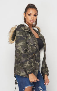 Fur Lined Hooded Parka Coat in Camouflage