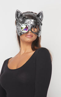 Steampunk Mechanical Cat Mask with Crystal Goggle - Silver