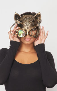 Steampunk Mechanical Cat Mask with Crystal Goggle - Gold
