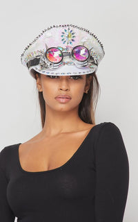 Steampunk Goggle Captain Hat with Reversible Sequins - White