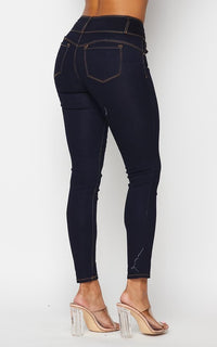 3 Button Push-Up Denim Skinny Jeans - Dark Denim - SohoGirl.com