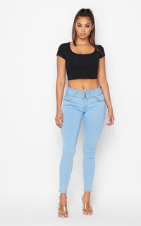 3 Button Push-Up Denim Skinny Jeans - Light Denim - SohoGirl.com