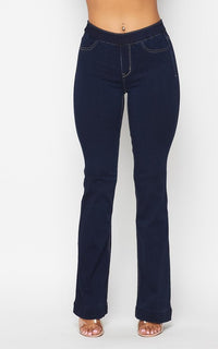 Mid Rise Denim Bootcut Pants (S-XL) - Medium Dark - SohoGirl.com