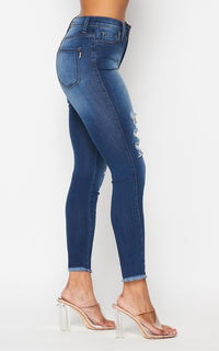 Vibrant Distressed Ladder Cut Skinny Jeans - Dark Denim