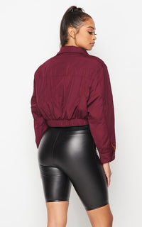 Cropped Bomber Jacket in Burgundy