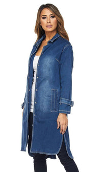 Judy Blue Denim Trench Coat (Plus Sizes Available)