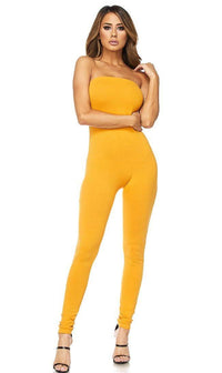 Mustard Strapless Bodycon Jumpsuit