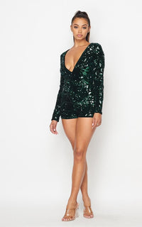 Forest Green Sequin Velvet Romper
