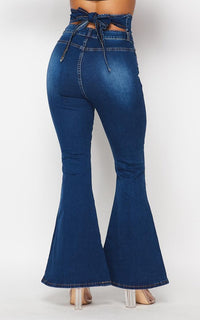 Belted Waist Bell Bottom Jeans - Dark Denim - SohoGirl.com