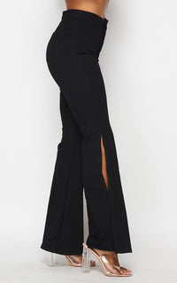 Side Slit Bell Bottom Denim Jeans - Black