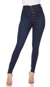 Ankle Zipped Five Button High Waisted Pants - Dark Denim