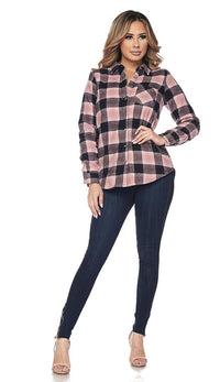 Faux Fur Lined Plaid Flannel - Pink - SohoGirl.com