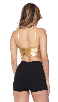 Metallic Gold Bustier Crop Top - SohoGirl.com