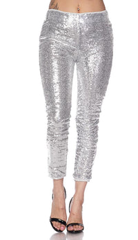 Silver Allover Sequin Party Pants - SohoGirl.com