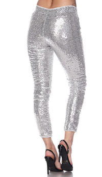Silver Allover Sequin Party Pants