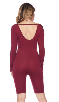Long Sleeve Low Back Bermuda Unitard - Burgundy - SohoGirl.com