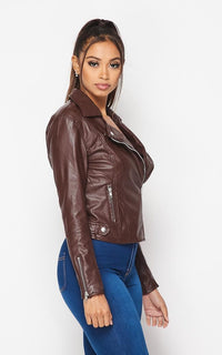 Faux Leather Moto Biker Jacket - Brown - SohoGirl.com