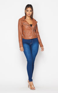 Faux Leather Moto Biker Jacket - Tan - SohoGirl.com
