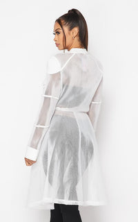 Utility Pocket Sheer Mesh Trench Coat - White