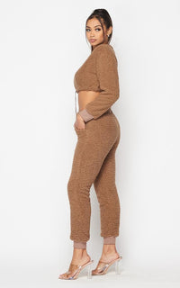 Fuzzy Sherpa Two Piece Jogger Set - Mocha