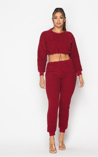 Fuzzy Sherpa Two Piece Jogger Set - Burgundy