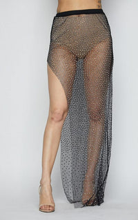 Rhinestone Mesh Cover Up Skirt - Black - SohoGirl.com