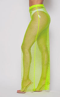 Rhinestone Mesh Cover Up Skirt - Neon Green - SohoGirl.com