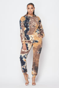 2 Piece Tye Dye Jogger Set With Hoodie Sweater - Taupe - SohoGirl.com