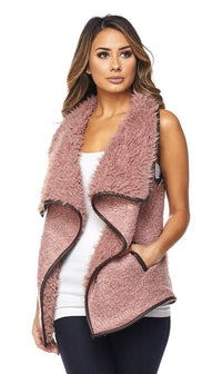 Draped Sleeveless Faux Fur Wool Vest in Pink - SohoGirl.com