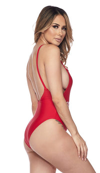 Girl Gang Low Cut Swimsuit in Red - SohoGirl.com