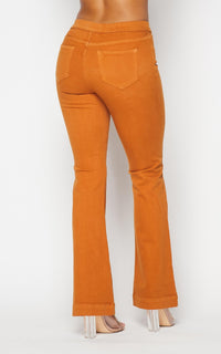 Mid Rise Denim Bootcut Pants (S-XL) - Rust
