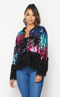 Shaggy Faux Fur and Multicolor Sequin Jacket
