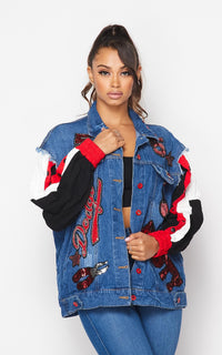 Sleeve Insert Sequin Patched Denim Jacket