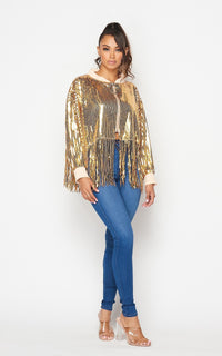 Gold Sequin Fringe Crop Jacket - SohoGirl.com