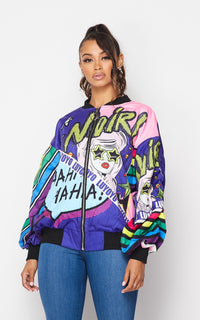 Noir Multicolor Comic Book Print Jacket - SohoGirl.com