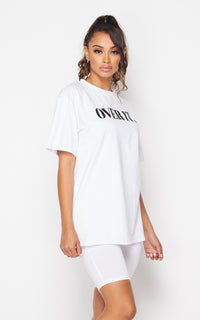 Over It Oversized T-Shirt and Biker Shorts Set - White - SohoGirl.com