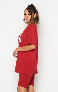 Influencer Oversized T-Shirt and Biker Shorts Set - Red