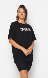 Over It Oversized T-Shirt and Biker Shorts Set - Black