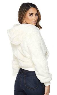White Faux Fur Hooded Bomber Jacket - SohoGirl.com